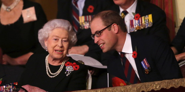 Britain's Queen Elizabeth and Prince William, Duke of Cambridge, (R) chat with each other in the Royal Box at the Royal Albert Hall during the Annual Festival of Remembrance in London November 7, 2015. REUTERS/Chris Jackson/Pool