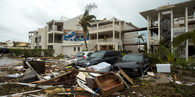 A photo taken on September 6, 2017 shows damage outside the 'Mercure' hotel in Marigot, on the Bay of Nettle, on the island of Saint-Martin in the northeast Caribbean, after the passage of Hurricane Irma. 
