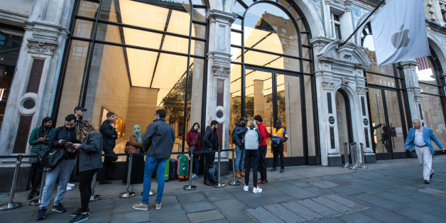 LONDON, ENGLAND - SEPTEMBER 22: Customers queue outside Apple Regent Street ahead of the launch of the iPhone 8 on September 22, 2017 in London, England. Apple have today launched their new mobile phone, the iPhone 8 and 8 plus in the UK today ahead of the iPhone X's release in November. (Photo by Jack Taylor/Getty Images)