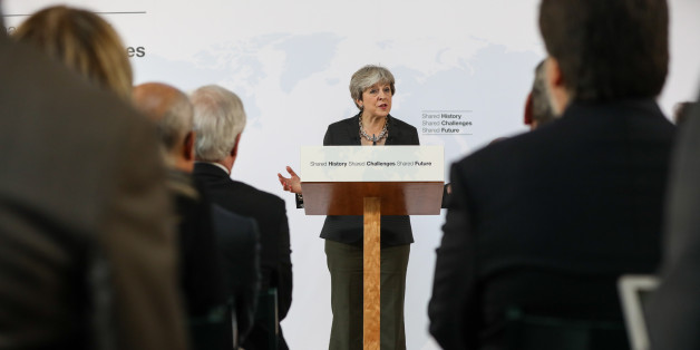 Theresa May, U.K. prime minister, delivers a speech at Complesso Santa Maria Novella in Florence, Italy, on Friday, Sept. 22, 2017. May will on Friday propose a period of transition after Brexit takes effect in March 2019, aiming to give certainty and clarity to companies worried about the looming split. Photographer: Chris Ratcliffe/Bloomberg via Getty Images