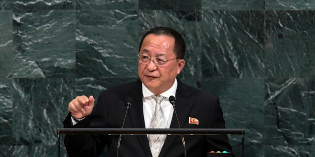 North Korea's Foreign Minister Ri Yong Ho addresses the 72nd session of the United Nations General assembly at the UN headquarters in New York on September 23, 2017.   / AFP PHOTO / Jewel SAMAD        (Photo credit should read JEWEL SAMAD/AFP/Getty Images)