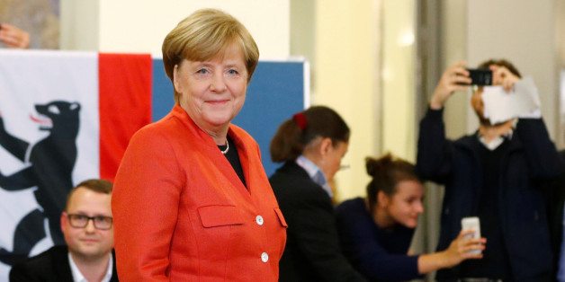 German Chancellor and leader of the Christian Democratic Union CDU Angela Merkel is seen after casting her vote in the general election (Bundestagswahl) in Berlin, Germany, September 24, 2017. REUTERS/Fabrizio Bensch