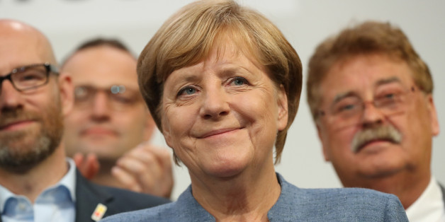 BERLIN, GERMANY - SEPTEMBER 24:  German Chancellor and Christian Democrat (CDU) Angela Merkel smiles while thanking supporters at CDU headquarters at the end of the election evening following federal elections results that give the CDU 33% of the vote, giving it a first place finish, though 8.5% less than in the last election four years ago, on September 24, 2017 in Berlin, Germany. Chancellor Merkel is seeking a fourth term and coming weeks will likely be dominated by negotiations between parti
