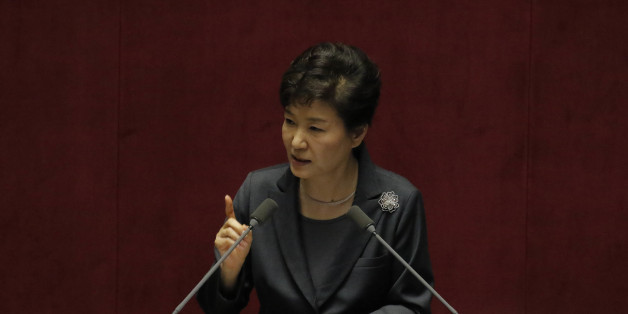October 27, 2015 - South Korea, Seoul : South Korean President Park Geun-hye attend with delivers a speech on the government budget at the National Assembly in Seoul, South Korea, Tuesday, Oct. 27, 2015. Park asked lawmakers for cooperation to pass bills of her government's spending plan for 2015. (Photo by Seung-il Ryu/NurPhoto) (Photo by NurPhoto/NurPhoto via Getty Images)