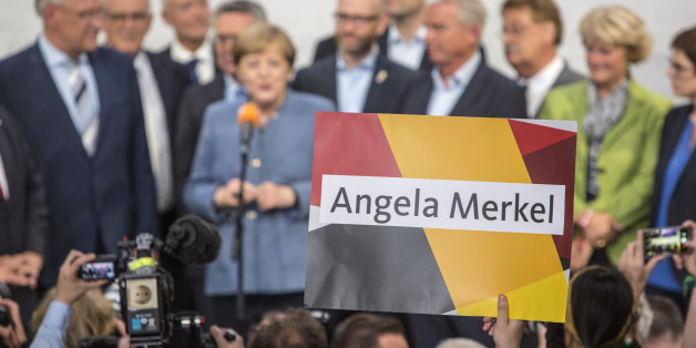 German Chancellor and Head of the Christian Democratic Union party (CDU), Angela Merkel is seen speaking to a crowd of supporters during an Election Night event at the CDU's party headquarters- The Konrad Adenauer Haus in Berlin, on September 24, 2017. Early elections count showed 33% to Angela Merkel's Party the CDU and to its sister party the CSU. (Photo by Omer Messinger/NurPhoto via Getty Images)