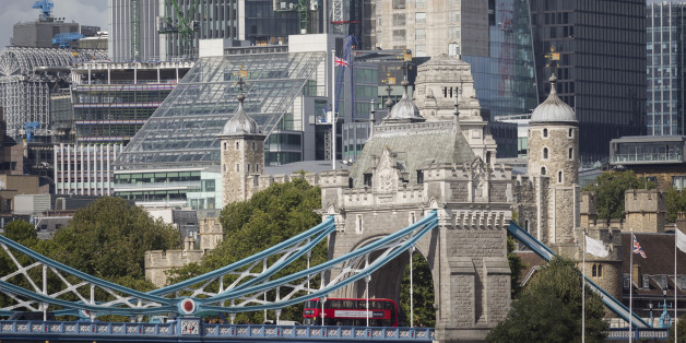 A cityscape of the City of London in the background with the northern abutment tower of Tower Bridge and the Norman-era Tower of London flying the British Union Jack flag, on 14th September 2017, in London, England. (Photo by Richard Baker / In Pictures via Getty Images)