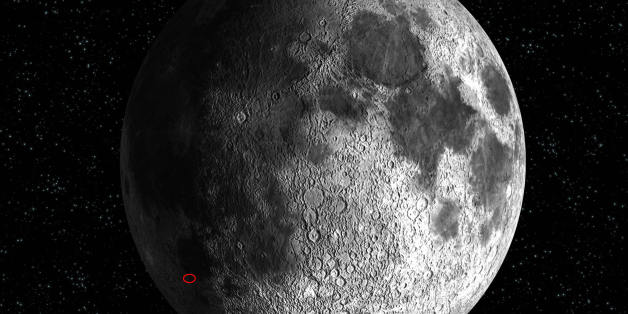 -, SPACE:  This artist's impression shows the location of the SMART-1 impact on the Moon surface, expected for 3 September 2006 at 07:41 CEST (05:41 UT). Europe's first probe to the Moon SMART-1 crashed onto the lunar surface as scheduled at 7.42 am (0542 GMT) 03 September 2006 ending a successful 16-month mission, the European Space Agency announced today. SMART-1 smashed into the Moon at a speed of two kilometres per second (7,200 kmph) in a plain called the Lake of Excellence, a volcanic plane area surrounded by highlands, but also characterised by ground heterogeneities, on the southwestern side of the Moon's face. The probe fell in exactly the right place (36.44? south of latitude and 46.25? west of longitude) after a 'pretty spectacular' drop, said Bernard Von Weyhe, spokesman for the ESA, which was able to follow its trajectory by telescope. AFP PHOTO / ESA / C.Carreau  (Photo credit should read C. CARREAU/AFP/Getty Images)