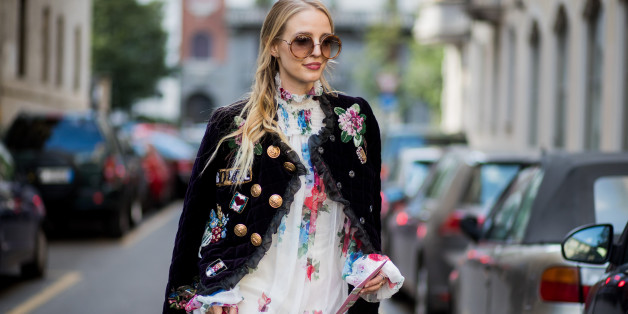 MILAN, ITALY - SEPTEMBER 24: Leonie Hanne wearing white dress, leather jacket, Dolce & Gabbana bag is seen outside Dolce & Gabbana during Milan Fashion Week Spring/Summer 2018 on September 24, 2017 in Milan, Italy. (Photo by Christian Vierig/Getty Images)