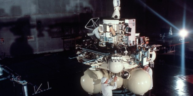 Full size replica of the space probe phobos being prepared for the paris air show, june 1987. (Photo by: Sovfoto/UIG via Getty Images)