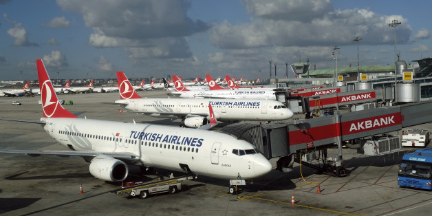Turkish Airlines aircrafts are parked at the Ataturk International airport in Istanbul, Turkey December 3, 2015. Turkish Airlines, Europe's fourth biggest carrier, said the number of its passengers rose 8.1 year-on-year in January to 4.7 million. In a statement to the Istanbul stock exchange on Tuesday evening February 16, 2016, it said load factor, which measures an airline's capacity utilisation, declined by 2.2 percentage points to 74.2. Picture taken December 3, 2015. REUTERS/Murad Sezer