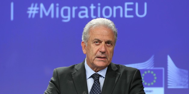 BRUSSELS, BELGIUM - SEPTEMBER 27: EU Commissioner of Migration and Home Affairs Dimitris Avramopoulos holds a press conference over the protection and strengthening of Schengen, in Brussels, Belgium on September 27, 2017. (Photo by Dursun Aydemir/Anadolu Agency/Getty Images)