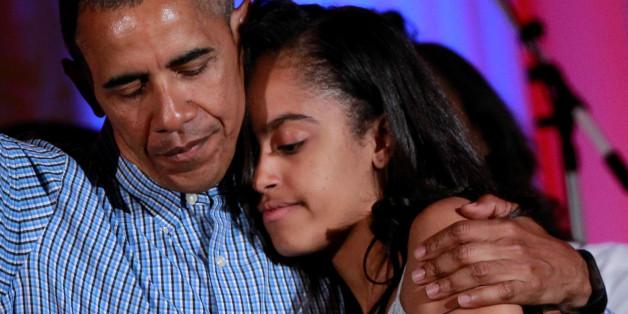 Barack Obama und seine Tochter Malia an ihrem Geburtstag im Jahr 2016