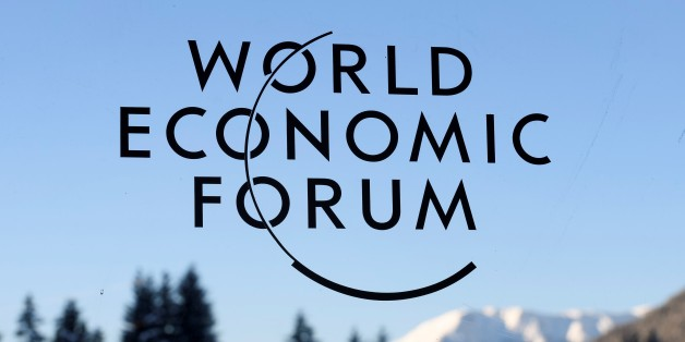 A sign and logo of the World Economic Forum is seen on the third day of the Forum's annual meeting, on January 19, 2017 in Davos.
