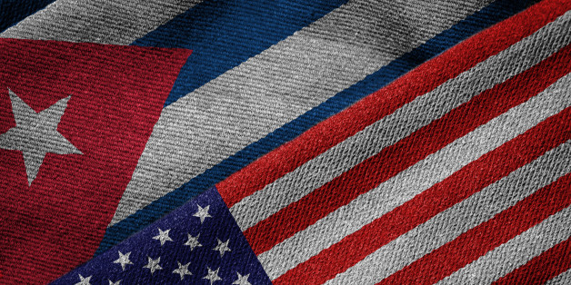 3D rendering of the flags of USA and Cuba on woven fabric texture. Detailed textile pattern and grunge theme.
