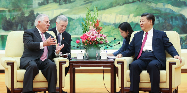 BEIJING, CHINA - SEPTEMBER 30:  U.S. Secretary of State Rex Tillerson (L) meeting with Chinese President Xi Jinping  (R) at the Great Hall of the People on September 30, 2017 in Beijing, China.  (Photo by Lintao Zhang/Pool/Getty Images)