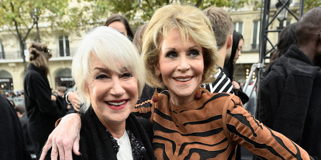 PARIS, FRANCE - OCTOBER 01:  Helen Mirren and Jane Fonda attend Le Defile L'Oreal Paris as part of Paris Fashion Week Womenswear Spring/Summer 2018 at Avenue Des Champs Elysees on October 1, 2017 in Paris, France.  (Photo by Kristy Sparow/Getty Images)