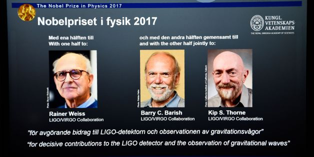 Laureates (L-R) Rainer Weiss, Barry C Barish and Kip S Thorne are pictured on a display during the announcement of the 2017 Nobel Prize winners in Physics on October 3, 2017, at the Royal Swedish Academy of Sciences in Stockholm. / AFP PHOTO / Jonathan NACKSTRAND        (Photo credit should read JONATHAN NACKSTRAND/AFP/Getty Images)