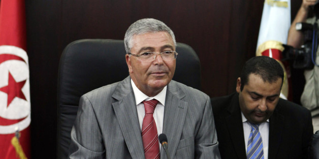 Tunisian Defence Minister Abdelkarim Zbidi speaks during a meeting with U.S. Defense Secretary Leon Panetta (not in picture) in Tunis July 30, 2012.  REUTERS/Zoubeir Souissi (TUNISIA - Tags: MILITARY POLITICS)