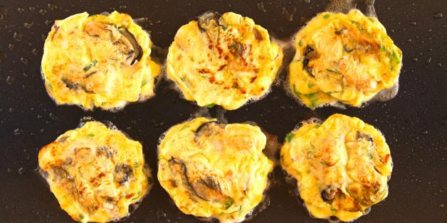 Making, griddle, Korean traditional pancakes, Jeon, Holiday Food