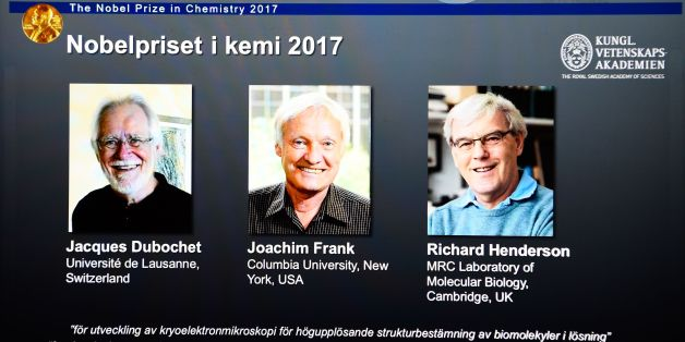 A screen displays portraits of winners of the 2017 Nobel Prize in Chemistry on October 4, 2017 at the Royal Swedish Academy of Sciences in Stockholm, Sweden (L-R) Jacques Dubochet from Switzerland, Joachim Frank from the US and Richard Henderson from Britain.Scientists Jacques Dubochet from Switzerland, Joachim Frank from the US and Richard Henderson from Britain won the Nobel Chemistry Prize for the development of cryo-electron microscopy, a method of simplifying and improving the imaging of bi