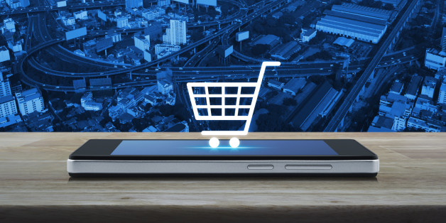 Shopping cart icon on smart phone screen, Shop online concept