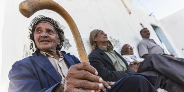 Tunisia, Tamezret . Inhabitants of the small village of Tamezret