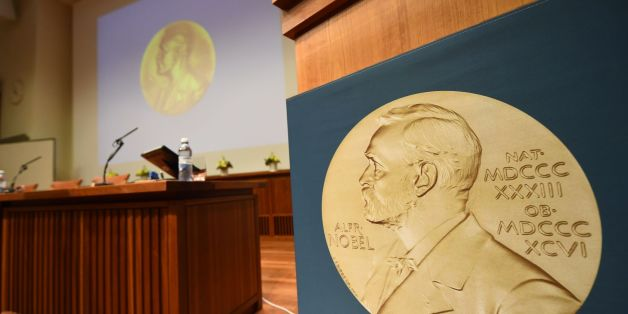 A medal of Alfred Nobel is pictured prior to the beginning of a press conference to announce the winner of the 2017 Nobel Prize in Medicine on October 2, 2017 at the Karolinska Institute in Stockholm.The 2017 Nobel prize season kicks off with the announcement of the medicine prize, to be followed over the next days by the other science awards and those for peace and literature. / AFP PHOTO / Jonathan NACKSTRAND        (Photo credit should read JONATHAN NACKSTRAND/AFP/Getty Images)