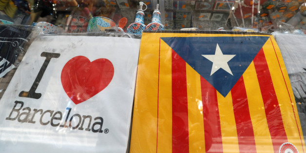 An Estelada (Catalan separatist flag) is seen in a touristic shop in Barcelona, Spain October 6, 2017. REUTERS/Yves Herman
