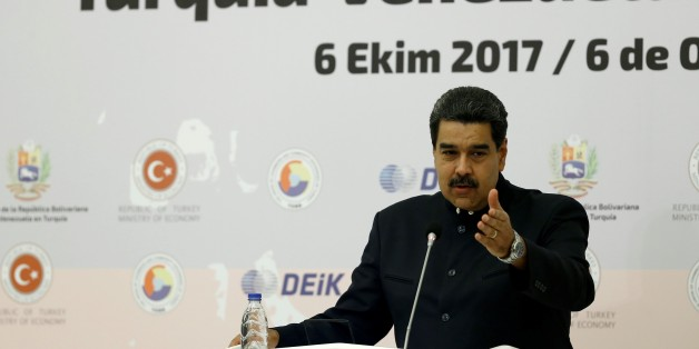 ANKARA, TURKEY - OCTOBER 6 :   Venezuelan President Nicolas Maduro speaks during the Turkey - Venezuela Business Forum in Ankara, Turkey on October 6, 2017. (Photo by Mehmet Ali Ozcan/Anadolu Agency/Getty Images)