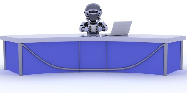3D render of a robot sat at a desk reporting the news