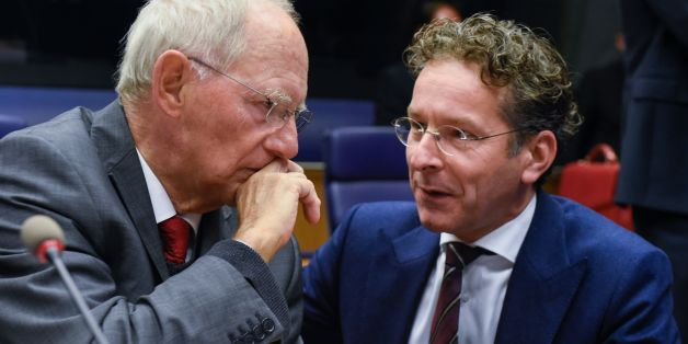 German Finance Minister Wolfgang Schaeuble (L) talks with Dutch Finance Minister and President of the Eurogroup, Jeroen Dijsselbloem during a Eurozone Finance ministers meeting in Luxembourg on October 9, 2017.  German Finance Minister Wolfgang Schaeuble, the warhorse of the debt crisis, attends his final meeting of eurozone ministers on October 9 as variously the most loathed or loved figures in EU politics. / AFP PHOTO / JOHN THYS        (Photo credit should read JOHN THYS/AFP/Getty Images)