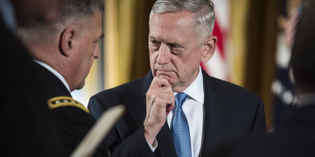 WASHINGTON, DC - JULY 31: Defense Secretary Jim Mattis talks with Chief of Staff of the Army Gen. Mark A. Milley, left,  before President Donald Trump bestows the nation's highest military honor, the Medal of Honor to retired Army medic James McCloughan, at a ceremony in the East Room of the White House in Washington, DC on Monday, July 31, 2017. (Photo by Jabin Botsford/The Washington Post via Getty Images)