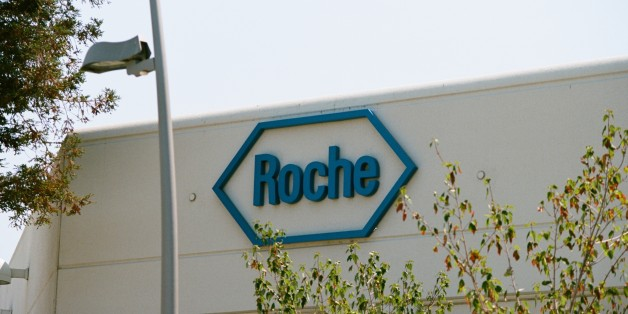 Logo on building exterior at the Silicon Valley headquarters of pharmaceutical company Roche, Santa Clara, California, August 17, 2017. (Photo via Smith Collection/Gado/Getty Images)