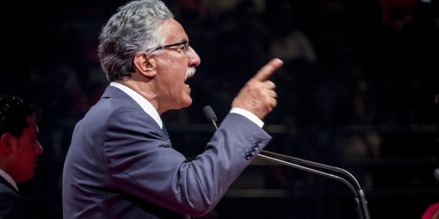In November 16th, 2014: big political meeting of the Front Popular, with its president Hamma Hammami, candidat for the the presidency of the republic for the elections of November 23rd. In a long speech of more than one hour, Hammami, assured that he will work on the installation of a social justice and a balance between the various regions of the country, before finishing his meeting with his wife Radia Nasraoui, his daughter and all his friends and leaders of the party. (Photo by Nicolas Fauqu