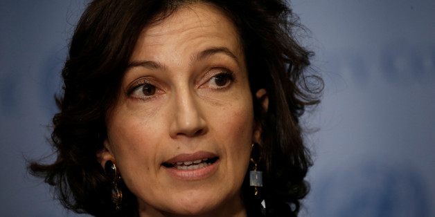 Audrey Azoulay, Minister of Culture and Communication of France, speaks to reporters after the United Nations Security Council voted to adopt a resolution on the protection of cultural heritage in armed conflict at U.N. headquarters in New York City, New York, U.S., March 24, 2017.   REUTERS/Mike Segar