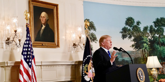 WASHINGTON, DC - OCTOBER 13: President Donald Trump speaks about Iran from the Diplomatic Reception Room at the White House in Washington, Friday, Oct. 13, 2017. (Photo by Jabin Botsford/The Washington Post via Getty Images)                               (Photo by Jabin Botsford/The Washington Post via Getty Images)