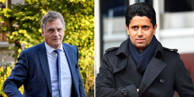 (FILES) This combination of file images created on October 13, 2017, shows (L) French former FIFA Secretary General Jerome Valcke as he arrives at the Court of Arbitration for Sport prior to his appeal over his 10 year ban from football on October 11, 2017 in Lausanne and (R) Paris Saint-Germain's Qatari president Nasser Al-Khelaïfi as he arrives for the French L1 football match between Paris Saint-Germain and Nancy at the Parc des Princes stadium in Paris on March 4, 2017.Switzerland has ope