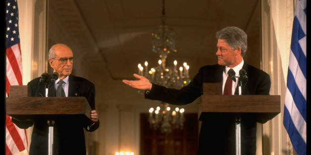 Pres. Bill Clinton (R) & Greek PM Andreas Papandreou holding joint news conf. in WH E. Rm.  (Photo by Diana Walker//Time Life Pictures/Getty Images)