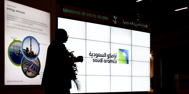 A Saudi Arabian Oil Co. (Aramco) logo sits on an electronic display at the company's corporate pavilion during the 22nd World Petroleum Congress in Istanbul, Turkey, on Wednesday, July 12, 2017. Oil fell from the lowest closing price in two weeks as talk of Libya and Nigeria being requested to cap their production failed to dispel doubts about the effectiveness of OPECs cut. Photographer: Kostas Tsironis/Bloomberg via Getty Images