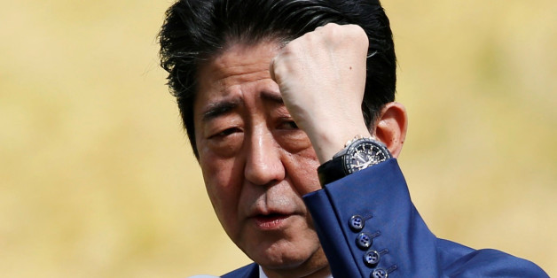 Japan's Prime Minister Shinzo Abe, who is also ruling Liberal Democratic Party leader, attends an election campaign rally in Fukushima, Japan, October 10, 2017.    REUTERS/Toru Hanai
