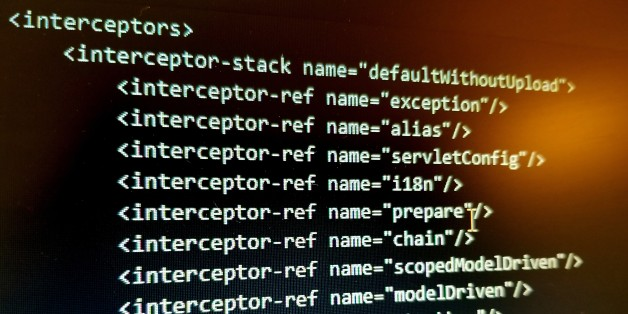 Close-up of code on a computer screen for the Apache Struts framework, which was exploited by computer hackers using a Remote Code Execution exploit in order to allegedly steal the personal information of millions of people from credit bureau Equifax, October 2, 2017. (Photo by Smith Collection/Gado/Getty Images)