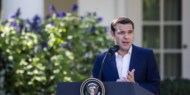 Alexis Tsipras, Greece's prime minister, speaks during a joint press conference with U.S. President Donald Trump, not pictured, in the Rose Garden of the White Housein the Rose Garden of the White House in Washington, D.C., U.S., on Tuesday, Oct. 17, 2017. Tsipras said that he and Trump had a 'productive' meeting on Tuesday and that he didn't feel threatened by the U.S. president he once said he feared would be 'evil.' Photographer: Zach Gibson/Bloomberg via Getty Images