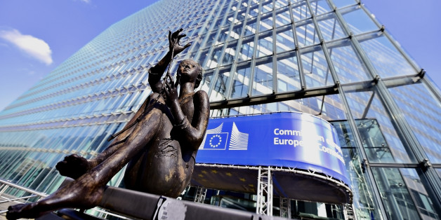 Brussels, Belgium - March 16, 2016: Statue in front of the European Commission Headquarters, also know as the Berlaymont building.