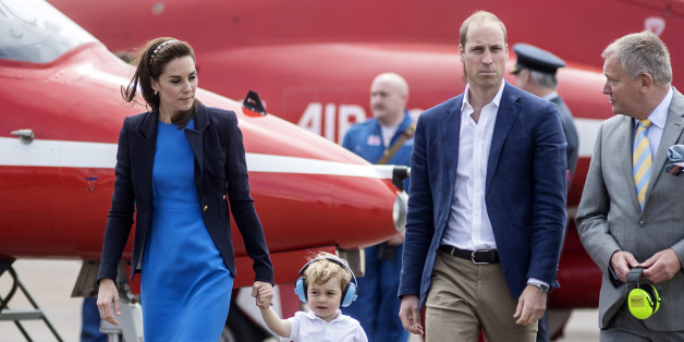 FAIRFORD, WALES - JULY 08: Catherine, Duchess of Cambridge, Prince Willliam, Duke of Cambridge and Prince George during a visit to the Royal International Air Tattoo at RAF Fairford on July 8, 2016 in Fairford, England.  (Photo by Richard Pohle - WPA Pool/Getty Images)