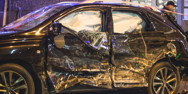***GRAPHIC CONTENT*** A car that hit a pedestrian during a violent car accident in Kharkov, Ukraine on 18 October 2017 night. Five people died on the spot. (Photo by Pavlo Pakhomenko/NurPhoto via Getty Images)