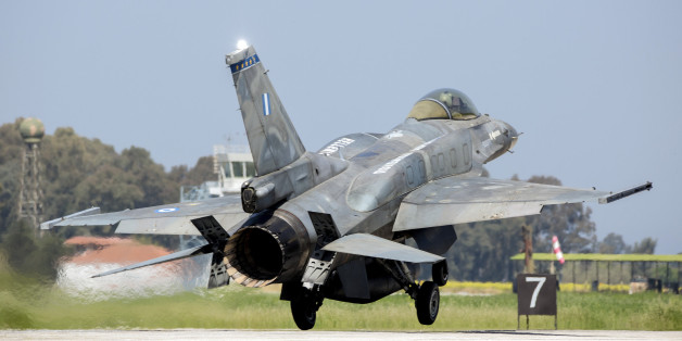 A Hellenic Air Force F-16C Block 52 landing on runway during joint exercise INIOHOS 2016 in Andravida, Greece.