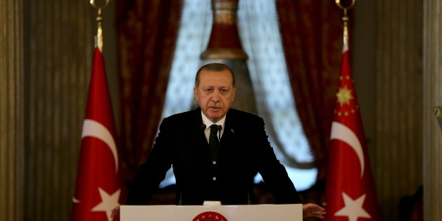 ISTANBUL, TURKEY - OCTOBER 20: President of Turkey Recep Tayyip Erdogan holds a press conference after hosting a dinner in honour of 9th D-8 Organization for Economic Cooperation Summit attendants at Dolmabahce Palace in Istanbul, Turkey on October 20, 2017. (Photo by Berk Ozkan/Anadolu Agency/Getty Images)