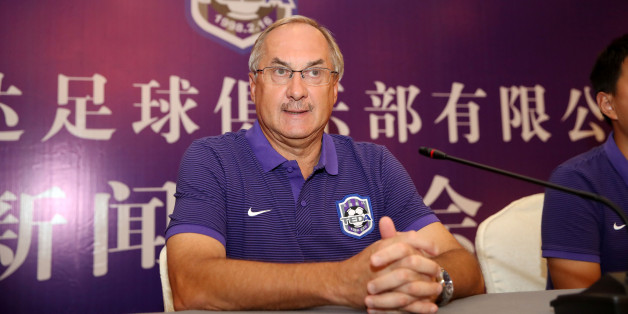 TIANJIN, CHINA - SEPTEMBER 11:  The new head coach of China's Tianjin Teda Uli Stielike attends a press conference on September 11, 2017 in Tianjin, China.  (Photo by VCG/VCG via Getty Images)