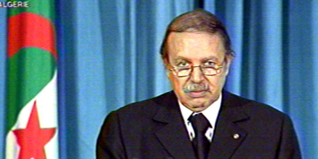 Algerian President Abdelaziz Bouteflika addresses the nation on televisionApril 30, 2001. Clashes between protesters and security forces erupted againin Algeria's Berber region of Kabylie as anger at the reported killing ofmore than 40 people spread to the capital Algiers.ZB/CP/CLH/