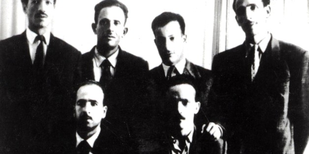 'Les fils de la Toussaint' (All Saints' Day sons), (group of the six founders of the F.LN, National Liberation Front). Photograph taken on October 24, 1954. Standing, from the l. to the r.: Bitat, Ben Boulaïd, Didouche Mourad and Boudiaf. Sitting, from the l. to the r.: Krim and Ben M'Hidi, 1954, France - Algerian War of Independence. (Photo by: Photo12/UIG via Getty Images)